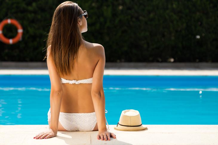 Buxom brunette sugar followed by a nudist beach voyeur